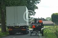 Vrachtwagen haalt menner in