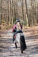 Meisje met pony in het bos