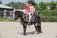 Met zijn drieën op de pony