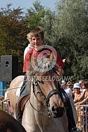 Ruiter op Belgisch trekpaard